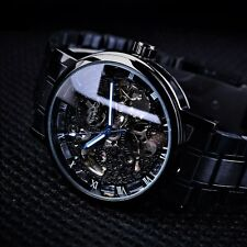 Skeleton Watch Luxury Men S Black Automatic Mechanical Antique Steampunk Invicta