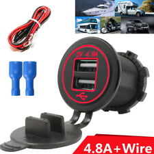 Red Dual Outlet 4.8A  ( 2.4A&2.4A ) +10A Fuse USB Boat Motorcycle Car Charger