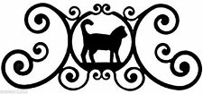 "Cat Indoor Outdoor Over Door House Sign Black Wrought Iron Handmade in USA 24"" L"