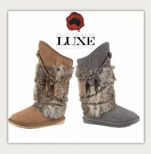 NIB Australia Luxe Atilla Sheepskin Shearling Rabbit Fur Gray Suede Boot US 6(7?