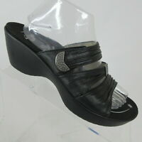 Abeo Darci Black Leather Wedge Slide Sandals Neutral Footbed Womens Shoe Size 10