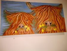 large modern oil painting of cows 80 inch 50 inch