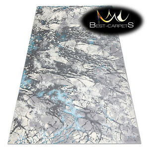 """Modern Designer Rug """"CORE"""" Abstraction structural grey / blue High Quality"""
