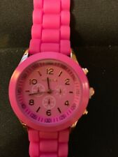 Geneva Women's Watch Silicone Band New w/extra battery Hot Pink
