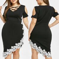 Fashion Women Plus Size Off Shoulder Lace Cross Asymmetrical Appliques Dress New