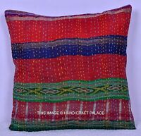 "16"" INDIAN EMBROIDERED SILK FABRIC PATCHWORK THROW PILLOW CUSHION COVER HANDMADE"