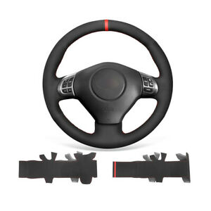 Black Suede Leather Car Steering Wheel Cover Wrap For Subaru Forester Impreza