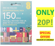 EE Pay as You Go INT Pack 150 Mins UK & to 34 Countries 500mb Data No Credit