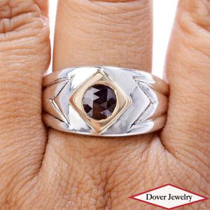 Estate 1.00ct Fancy Brown Diamond Sterling Silver 18K Gold Men's Ring 17.4 Gr NR