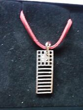 "Mackintosh Chair Back Fine English Pewter On a 18"" Red Cord Necklace codew19"