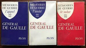 Mémoires de Guerre complet 3 volumes, AUTOGRAPHE Charles de Gaulle
