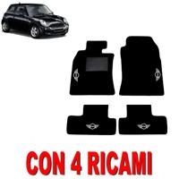 TAPPETINI AUTO SU MISURA PER MINI COOPER R50 R52 R53 MOQUETTE E GOMMA + 4 RICAMI