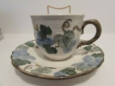 METLOX POPPYTRAIL SCULPTURED GRAPE CUP & SAUCER SET  CA. USA