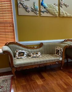Carved teak Wooden Sofa with upholstery, Teak wood Diwan, Wooden Chaise