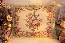 """20"""" European Country Home Decor Shabby Floral Wool Needlepoint Cushion Pillow"""