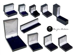 Leatherette Jewellery Boxes Blue Ring Bracelet Bangle Watch Necklace pendant...