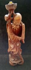 Rare Vintage Oriental / Chinese Lamp Detailed Carved Wooden Figure Signed
