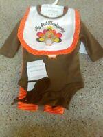Baby Girl First Thanksgiving 4 Piece Set ~ 6 Months ~ Turkey Bib Socks ~ NWT
