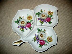 VTG Old Nuremberg Bavaria Germany 3 Section Dish Bowl Plate Floral Leaf shape