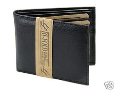 New Mens Bifold Genuine Leather Wallet Multi Credit Card ID License Slim Black