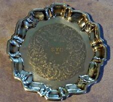"""Antique Silverplate Tray Footed -English Silver Mfg Corp- USA Made- 6 1/4"""" Round"""