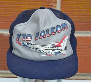 Vintage F16 Falcon Fight Jet Air Force mesh hat Trucker USA