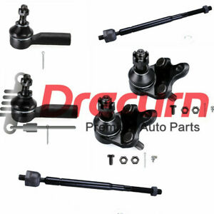 6PC Front Inner Outer Tie Rod Lower Ball Joint Kit For Toyota Corolla Geo Prizm