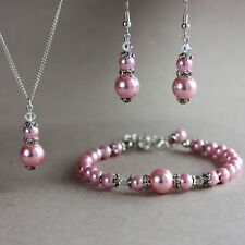 Pink pearls crystal silver earrings necklace bracelet wedding bridal jewelry set