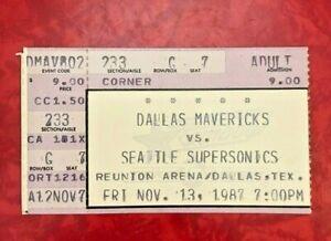 1988 DALLAS MAVERICKS - SEATTLE SUPERSONICS TICKET STUB REUNION ARENA 11/13/1987