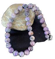 Native American Charoite Sterling Silver Necklace Navajo 20in 01491