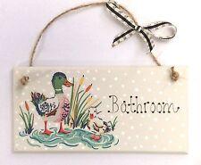 Handpainted & Decoupaged Cath Kidston Ducks Duck Bathroom Door Plaque Sign Gift
