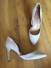 Next Forever Comfort Real Suede Nude Stiletto Shoes Snake Skin Heels Uk 4 EU 37