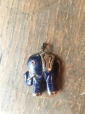 Vintage 925 Silver Carved Lapis Lazuli Elephant With Ruby Eye Pendant Good Luck