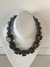 PONO MADE IN ITALY  Square & ROUND Links Chain Necklace CHOCKER Signed