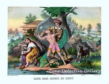 Daniel Boone Protects His Family - 1874 Lithograph Reprint