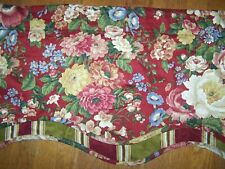 WAVERLY WILLIAMSBURG FAIRFIELD RED SCALLOPED VALANCE FLORAL & STRIPE