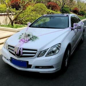 12 Pieces Wedding Car Decorations Kit Silk Flower Ribbon Bows Set Purple