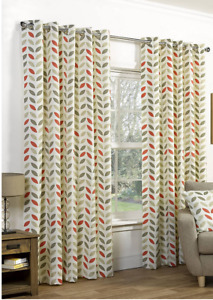 RING TOP NEO MOCHA ORANGE  HEAVY FULLY LINED CURTAINS  DESIGN 66x54  INCHES