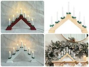 Wooden Pre-Lit Candle Bridge Arch Christmas Home Decoration Light Xmas Plug-In