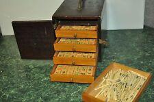 Vintage Antique Mahjong Mah Jongg Bone & Bamboo Set  Wood Case with 146 Tiles