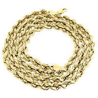 14K Yellow Gold 6mm Solid Diamond Cut Rope Chain Link Necklace 20 - 30 Inches