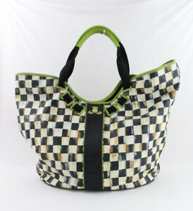 MacKenzie-Childs Green White Black Courtley Check Print Large Weekender Tote Bag