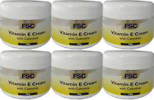 Vitamin E Cream with Calendula 100g by FSC Suitable for Vegans etc x 6 Packs