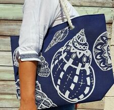 Large Canvas Beach Bag with Seashells Design in Blue and White - Brand New