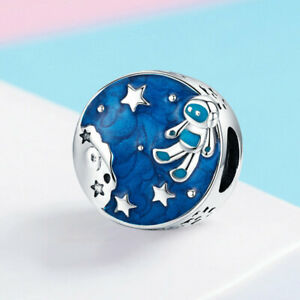 925 Sterling Silver Astronaut Traveling In Space Charm Bead Fit Silver Bracelet