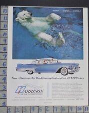 1957 HARRISON AIR CONDITIONING POLAR BEAR GM CAR AUTO MOTOR VINTAGE AD  CV48