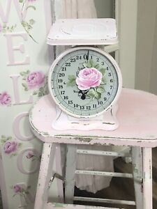 AMERICAN FAMILY Shabby Cottage Chic Pink Vintage Kitchen Scale HP Roses Decor