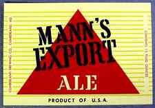 Cumberland Brewing MANNS EXPORT ALE beer  label MD 12oz - Var #1