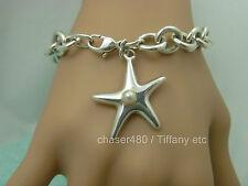 TIFFANY & Co. Elsa Peretti Pearl Starfish Charm Bracelet Sterling Silver - RARE!