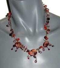 Bijoux de créateur pour femme COLLIER métal doré & perles rose rouge violet neuf